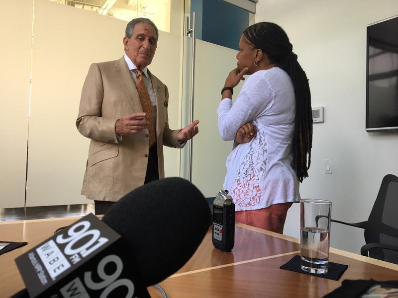 Arthur Blank, owner of the Atlanta Falcons, talks with Rose Scott.