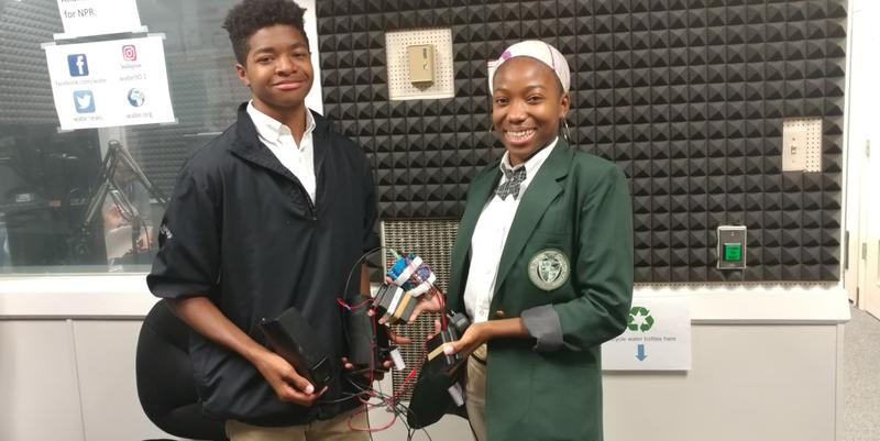 Drew Charter Academy's Noa Holloway and Simone Obleton are engineering students who designed a Hot Car Alert System.