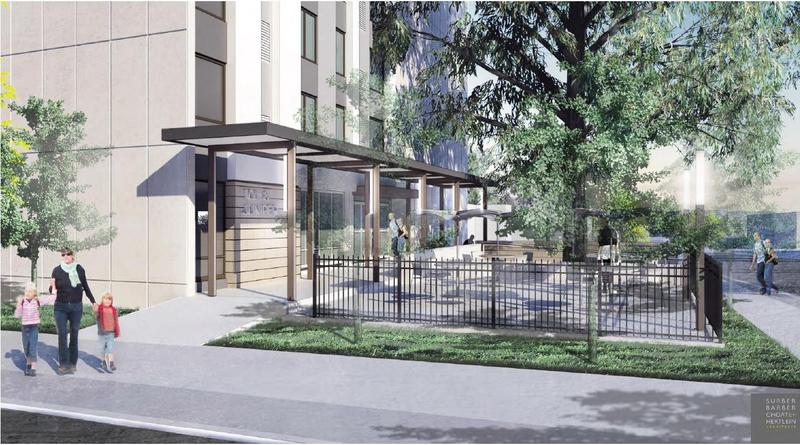 A rendering of the 10th & Juniper housing development for the aging and disabled that's currently under renovation.