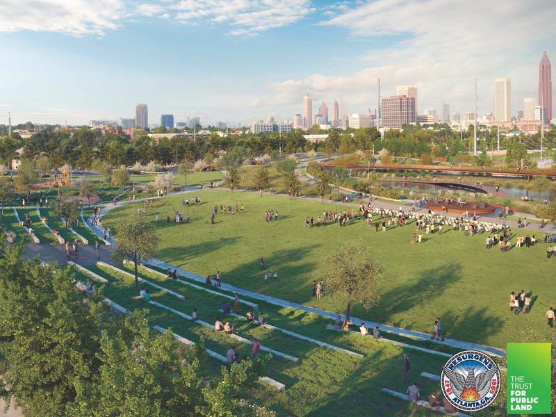 A rendering of Cook Park, looking towards Midtown.