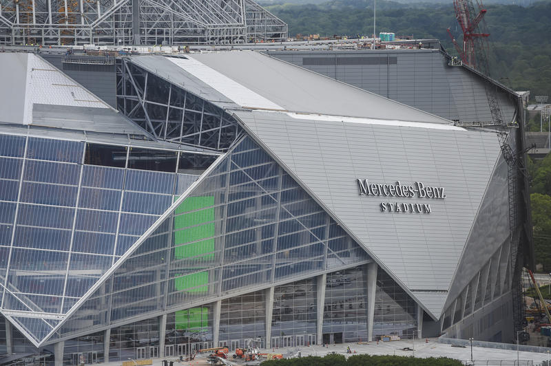 Mercedes-Benz Stadium, which is the home of the Atlanta Falcons, has faced construction setbacks.