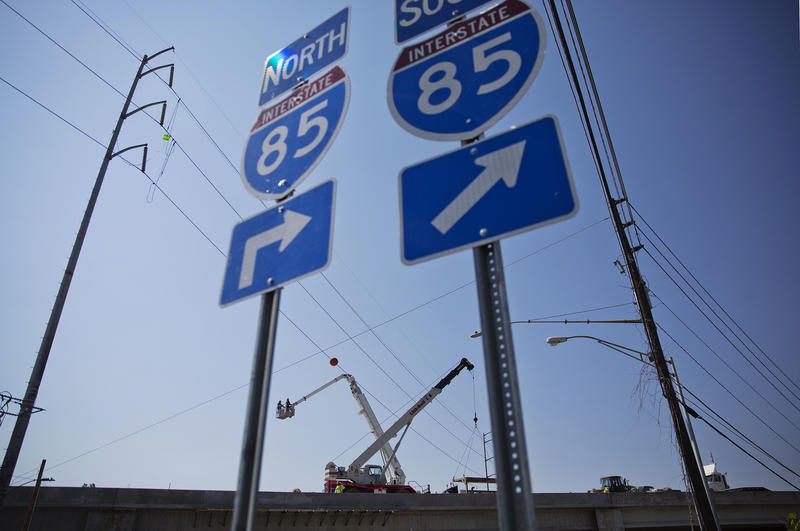 All lanes of the rebuilt Interstate 85 bridge, shown during construction earlier this month, are open.
