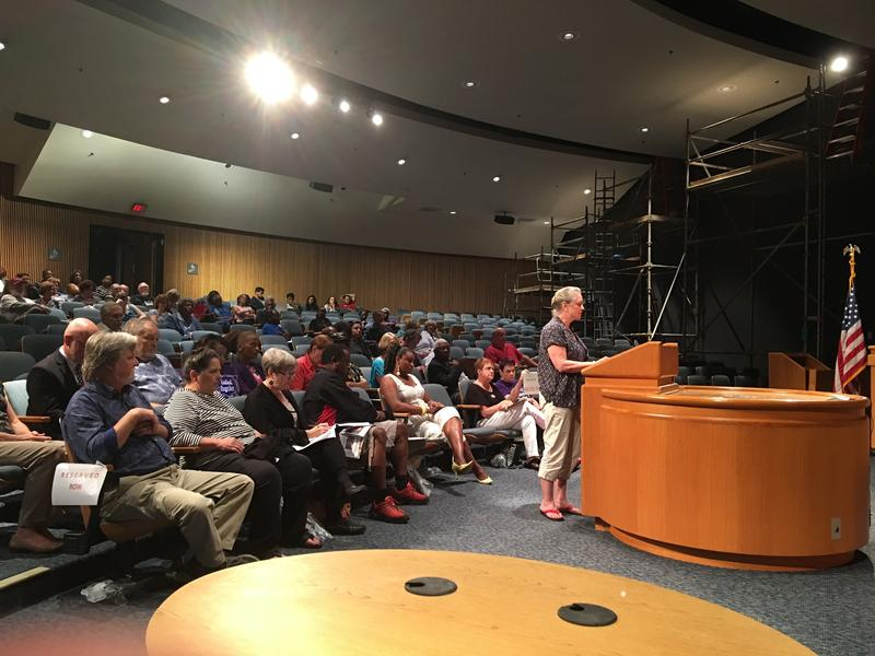 Rachel Theus of Lilburn speaks in favor of the Gwinnett Ethics Board's recommendation for Commissioner Tommy Hunter before a vote Tuesday.