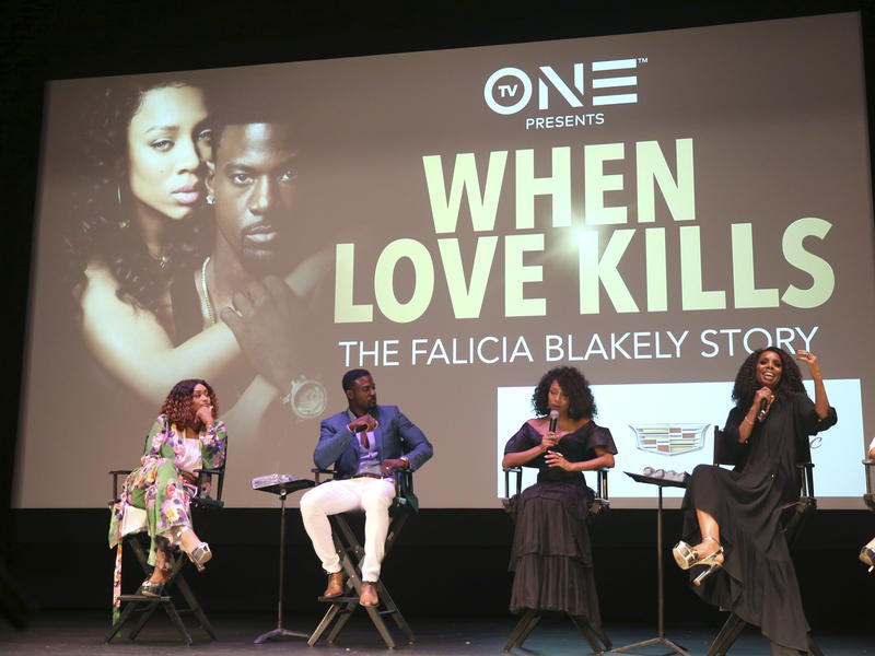 Tami Roman left, Lance Gross, Lil Mama and Tasha Smith are seen at the When Love Kills Q and A during the 2017 American Black Film Festival at Colony Theater on Thursday, June 15, 2017, in Miami Beach, Florida.