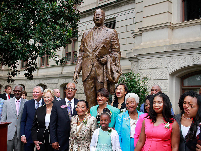 The new monument to Martin Luther King Jr. is the first to be installed on the Georgia Capitol grounds since 1997 and is the first honoring an African-American.