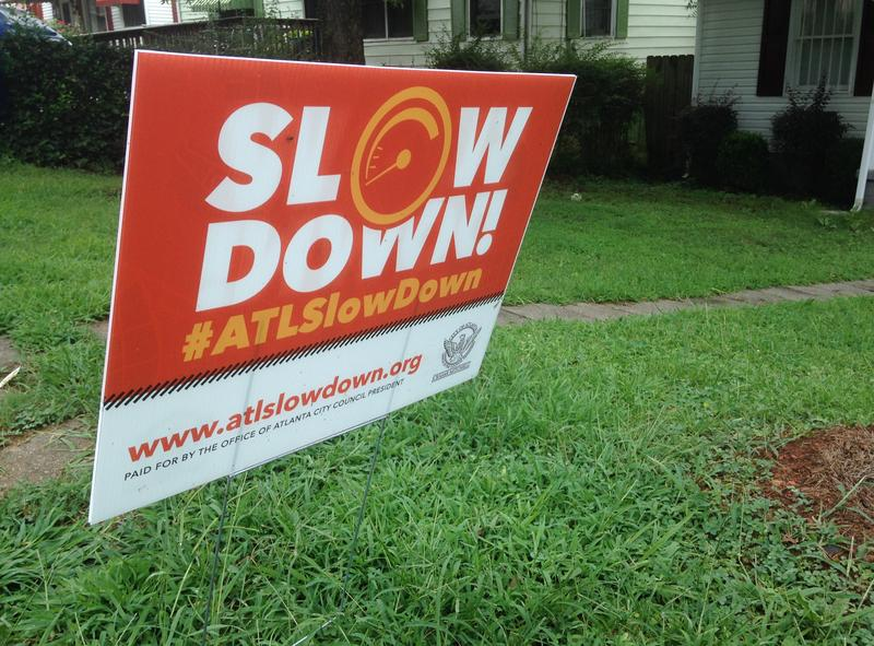 Unofficial signs telling drivers to slow down are common in neighborhoods all around Atlanta.