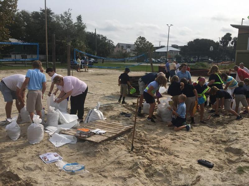 Students at Tybee Island Maritime Academy, Tybee's only school, helped prepare for Hurricane Irma Thursday.