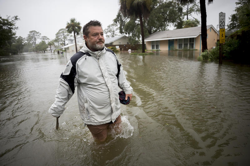 Joey Spalding walks back to his truck down the street where he lives, Monday, Sept., 11, 2017, on Tybee Island, Ga.