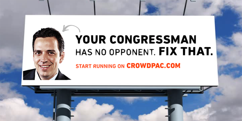 Crowdpac, a political crowdfunding website, has put billboards up on Peachtree Road and Cobb Parkway featuring the image of Rep. Tom Graves.