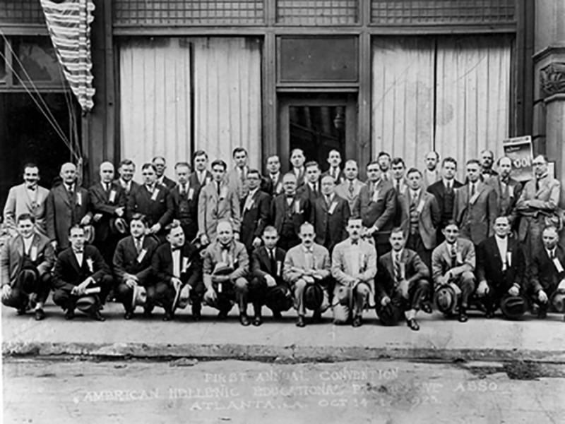 A group photo of the first Supreme Convention of the American Hellenic Educational Progressive Association held in Atlanta