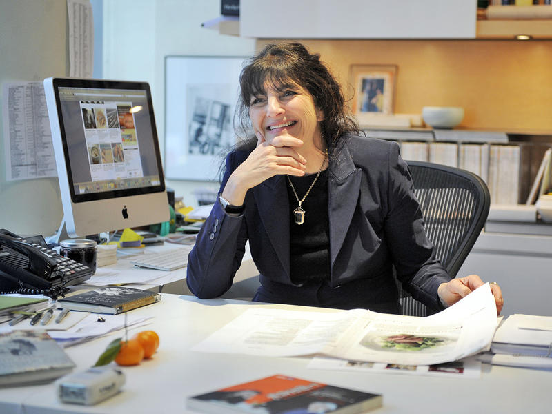 This photo taken April 10, 2009 shows Gourmet magazine editor Ruth Reichl being interviewed in her office in New York. (AP Photo/Richard Drew)