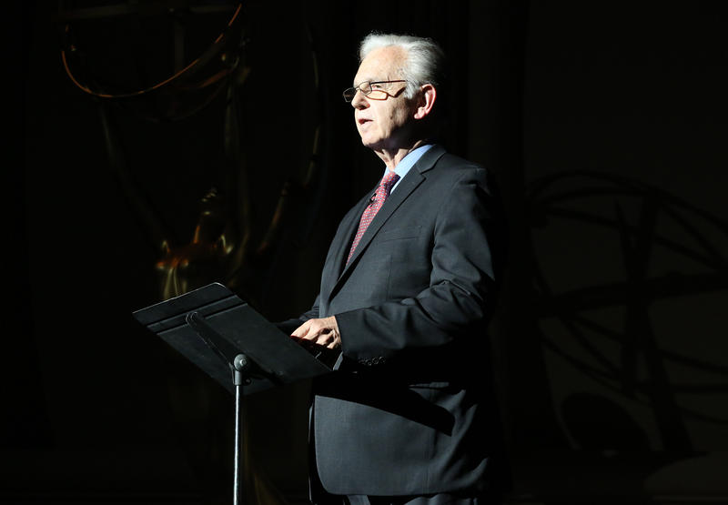 """Bruce Broughton commemorates ASCAP's 100th anniversary during the second half of """"SCORE! A Concert Celebrating Music Composed for Television"""" presented by the Television Academy at UCLA's Royce Hall on Wednesday, May 21, 2014, in Los Angeles."""
