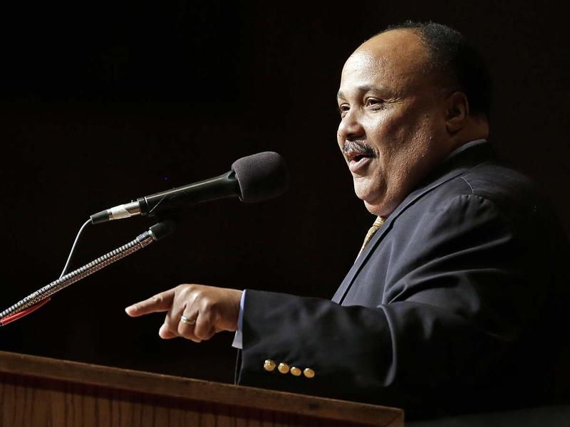 Martin Luther King III speaks at the Mason Temple on Wednesday, April 3, 2013, in Memphis, Tenn. The Mason Temple is the building where King's father, Dr. Martin Luther King Jr., gave his last speech the night before he was assassinated.