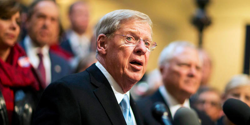 Sen. Johnny Isakson, R-Ga., speaks during a news conference to announce his re-election bid for the 2016 campaign at the state Capitol, Monday, Nov. 17, 2014, in Atlanta.