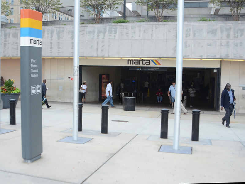 The entrance to the MARTA station near underground Atlanta