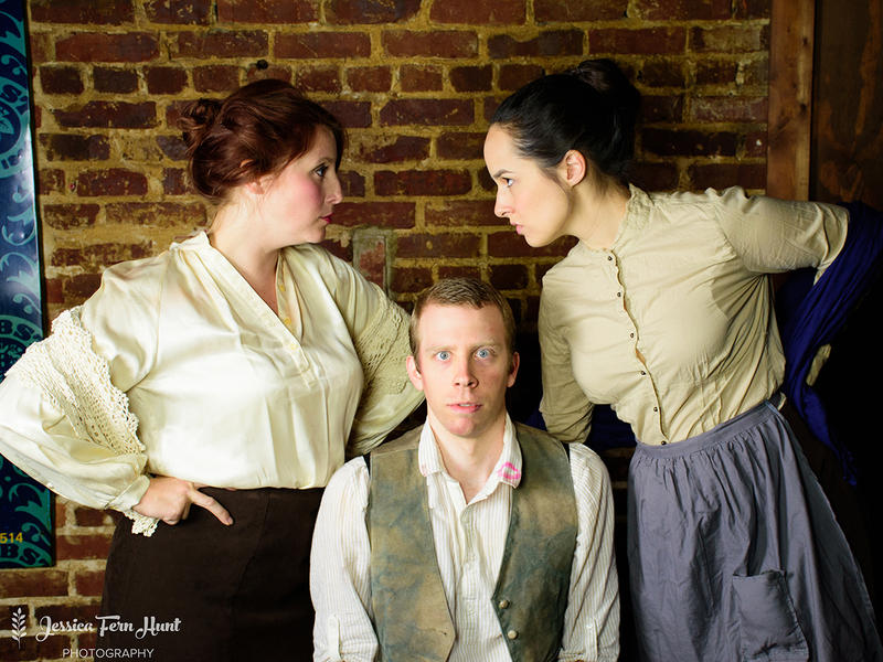 "Erin Greenway (as Widow Quinn), Chris Rushing (as Christy Mahon), Sophie Edwards (as Pegeen Mike) pose for a photo promoting Aris Theatre's production of ""The Playboy of the Western World"" by J.M. Synge."