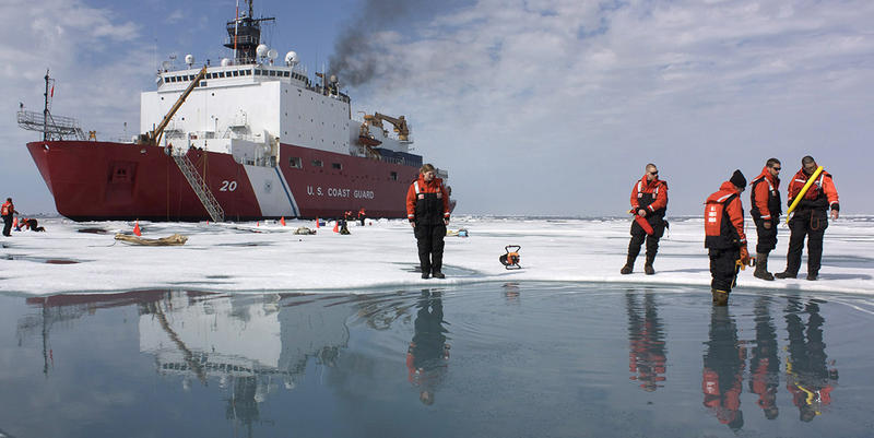 Scientists and Coast Guard swimmers tested sea ice in the Chukchi Sea in July of 2010. It was part of NASA's ICESCAPE mission on the effects of climate change on Arctic sea ice.