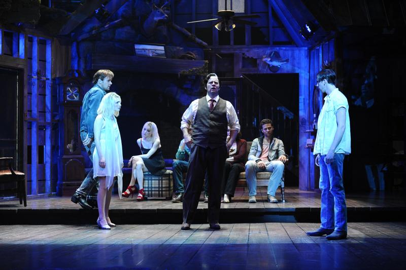 Travis Smith, Kate Ferber, Kylie Brown, Shuler Hensley, Justin Guarini and Peter Albrink in the Alliance Theatre's world premiere production of Ghost Brothers of Darkland County