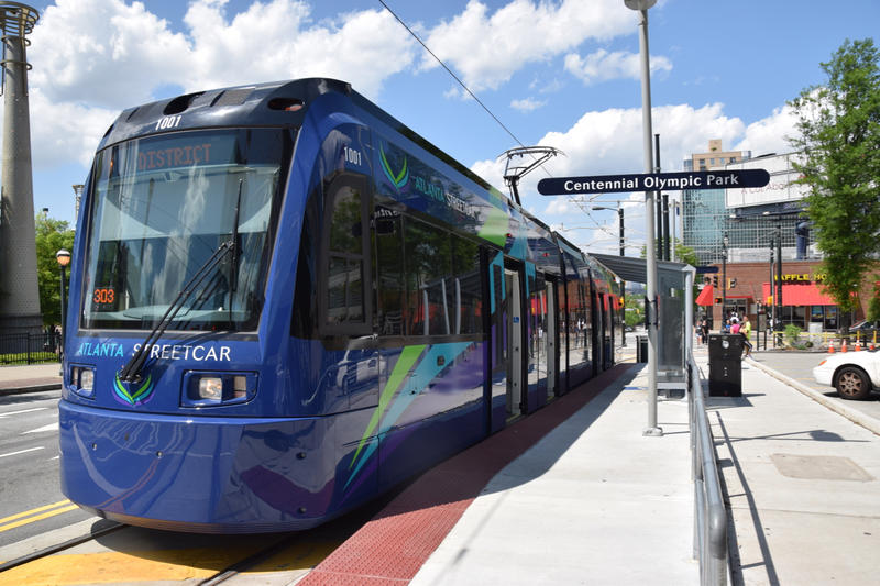 Atlanta Streetcar near Centennial Park April 2015