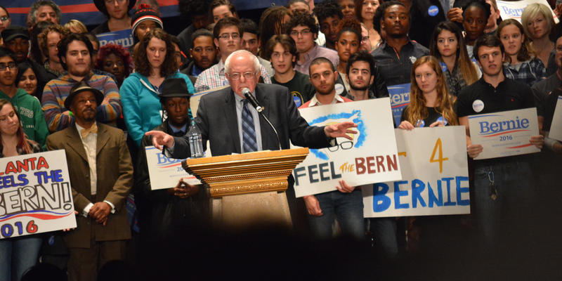 Democratic presidential candidate Bernie Sanders roused supporters at a campaign stop at Atlanta's Fox Theatre on Monday night.