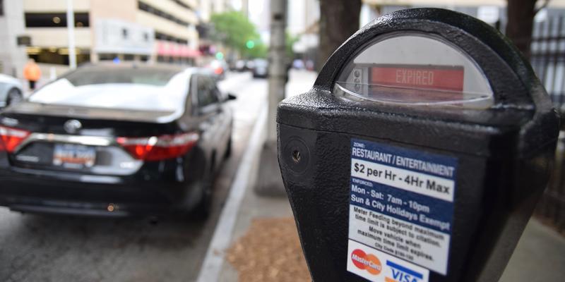 Expired parking meter in downtown Atlanta