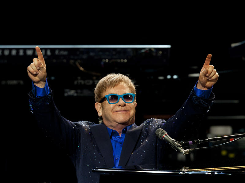 Sir Elton John and his band, during his performance at Royal Theatre in Madrid, Spain. Monday, July 20, 2015.