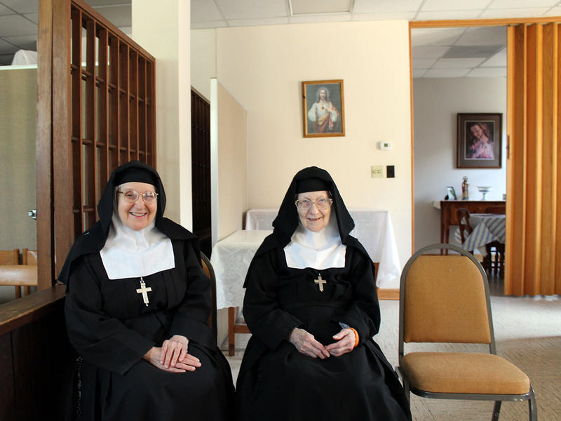 Sister Josefa Maria (left), and Reverend Mother Jane Frances Williams, in the common room at the Monastery of the Visitation in Snellville