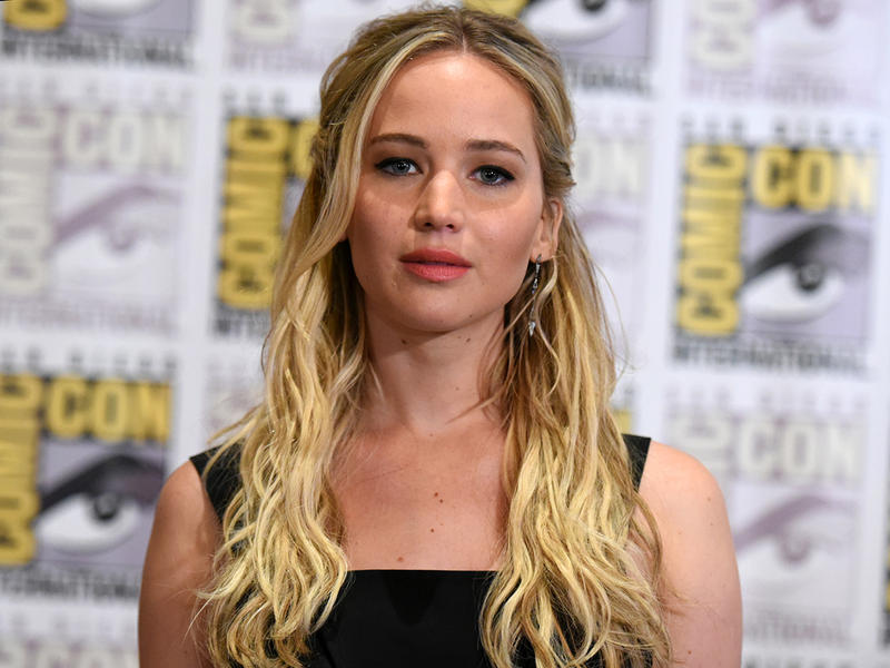 """Jennifer Lawrence attends """"The Hunger Games: Mockingjay Part 2"""" press line on day 1 of Comic-Con International on Thursday, July 9, 2015, in San Diego, Calif."""