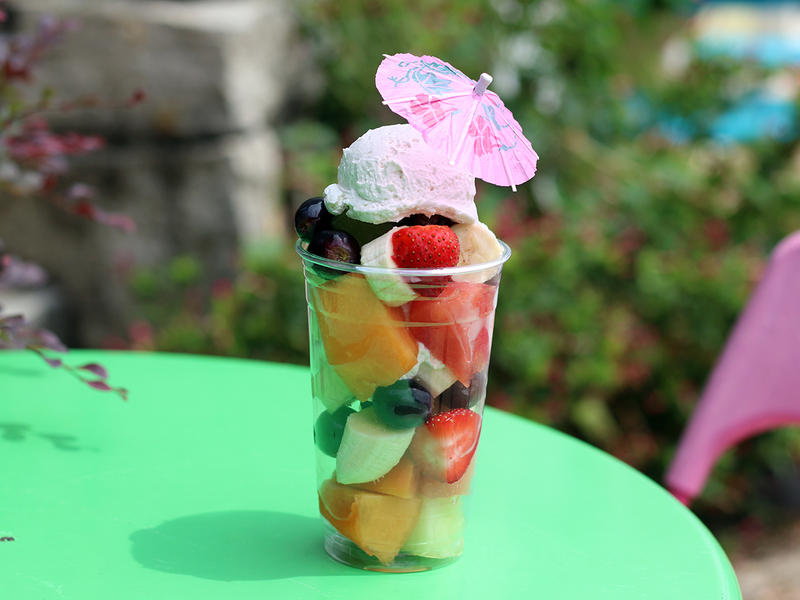 The cremolatta from Lottafrutta includes bananas, grapes, watermelon, cantaloupe, honeydew, papaya, and strawberries topped with a homemade, vegan crema made with coconut milk and Mexican vanilla.
