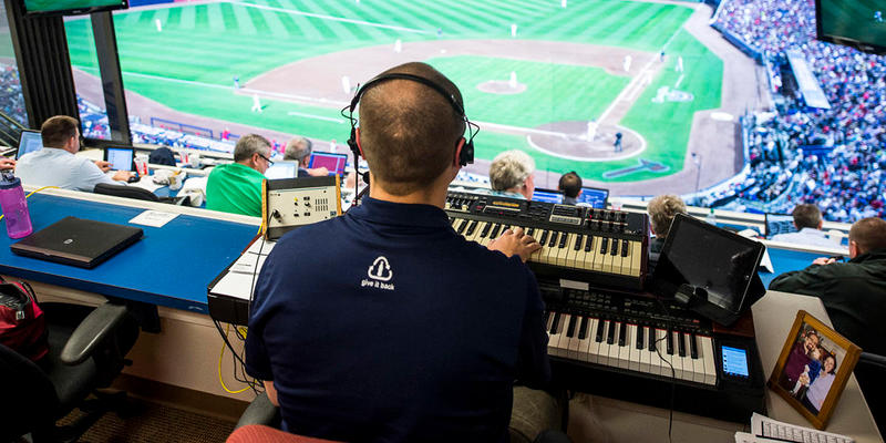 Atlanta Braves organist Matthew Kaminski during the game against the Philadelphia Phillies at Turner Field on April 1, 2013.