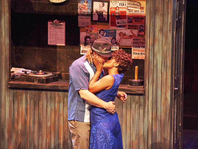 Atlanta actors Travis Smith and Naima Carter Russell on stage for a scene from the musical, Memphis, now at Aurora Theatre in Lawrenceville and coming downtown to the Rialto Center September 10-20.