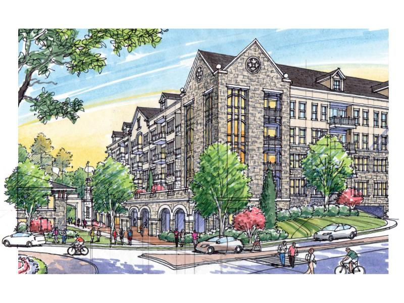 Rendering of the Gables complex at Oglethorpe from Hermance Drive, with a view toward the university campus.