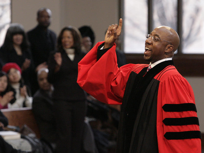 The Rev. Raphael Warnock delivers a sermon during church service at Ebenezer Baptist Church were he serves as pastor.