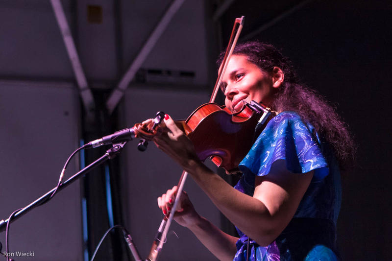 Rhiannon Giddens playing in the Carolina Chocolate Drops.