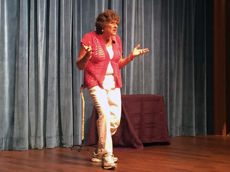 Retiree Jean El Guindi took to the Cobb County Senior Center stage to perform her comedy act.