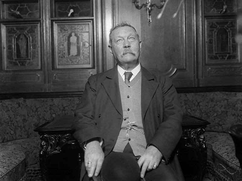 Sir Arthur Conan Doyle is seen in this 1922 photo. An 18th century Scottish mansion where Doyle once lived was saved from a Big Mac attack on Wednesday, Dec. 8, 1999 when the city of Edinburgh slapped a preservation order on it.