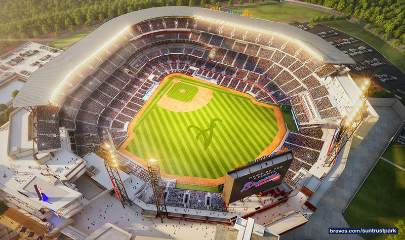 A rendering of what the new home of the Braves, Sun Trust Park, is projected to look like