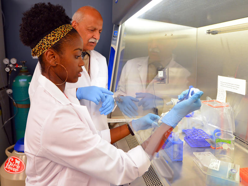 A student works in the lab with Dr. Shafiq A. Khan, Director of the Center for Cancer Research and Therapeutic Development (CCRTD) at Clark Atlanta University.