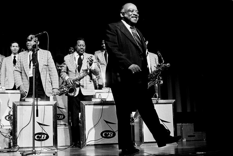 Count Basie, in concert with Big Joe Williams and Oscar Peterson at the Congress Center Hamburg in Hamburg, Germany in 1974.