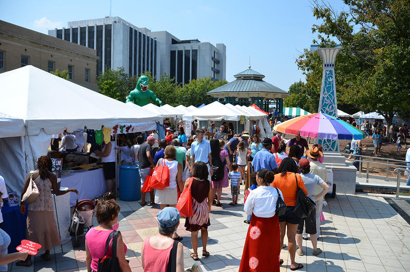 A large number of people at the Decatur Book Festival