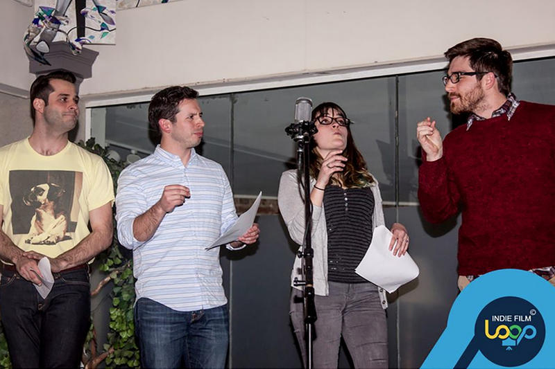 Four actors perform in a skit during the Indie Loop monthly showcase event in March.