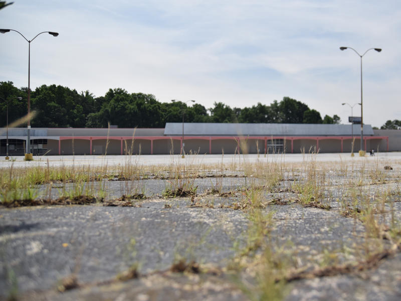 Weeds grow in the parking lot of the proposed Buford Highway Develpment June 10, 2015