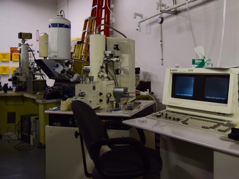 An X-Ray diffractometer that allows him and his team to work on small batteries.