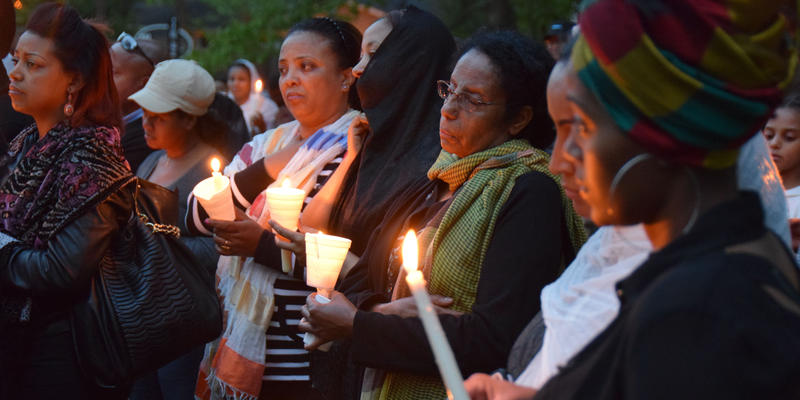 A group from Clarkston, Georgia's Ethiopian community gather during a vigil for Ethiopians killed by ISIS. The city is known as a refugee haven.