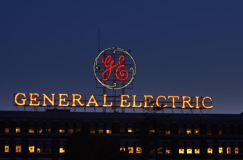 General Electric sign on GE Administration Building is seen at night in Schenectady, New York.