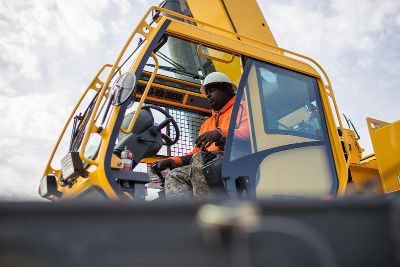 Former student Nathaniel Simmons operates a crane during a day of training at Georgia College of Construction.