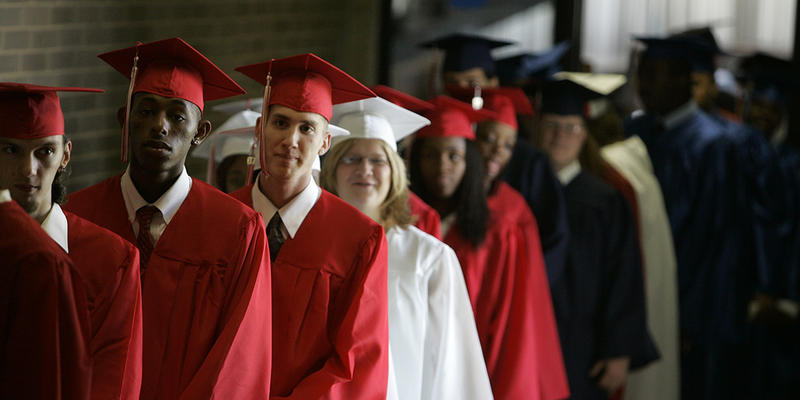 Graduates line up before the ceremony at South High School, Thursday, Aug. 16, 2007, in Cleveland.