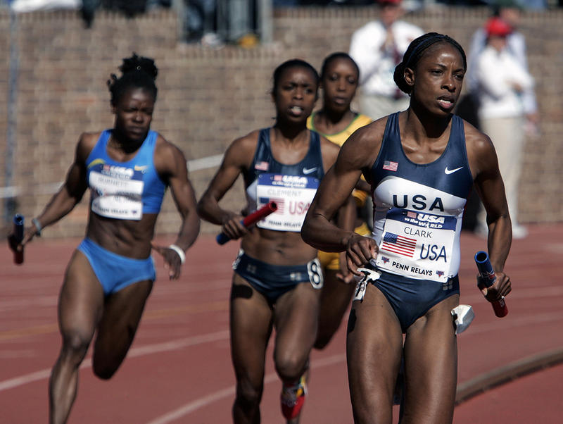 Hazel Clark leads the final leg of the women's distance medley relay during the Penn Relays track and field meet Saturday, April 29, 2006, in Philadelphia.