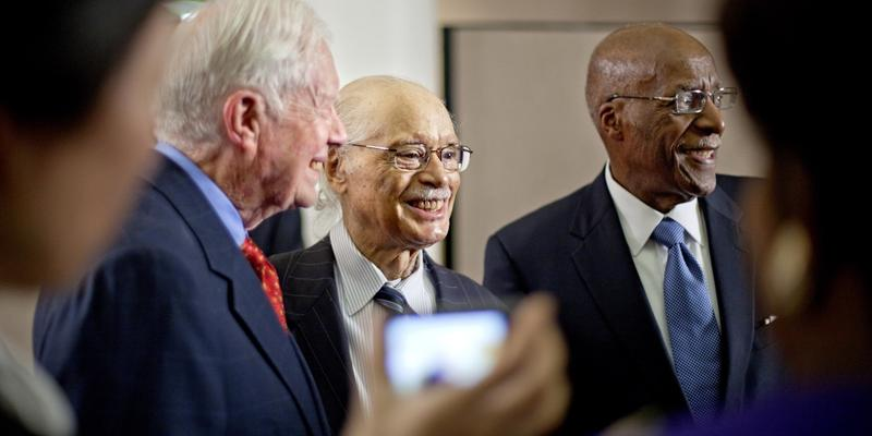 Judge Horace Ward, center, the first African American ever to serve on the federal bench in Georgia, stands with Former President Jimmy Carter, left, and Judge Nathaniel Jones, right, after an award ceremony recognizing President Carter.