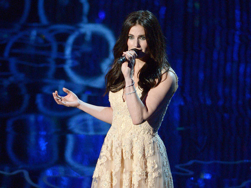 This March 2, 2014 file photo shows Idina Menzel performing during the Oscars at the Dolby Theatre in Los Angeles.